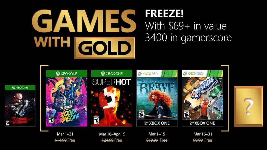 Xbox Store: i games with gold di Marzo 2018