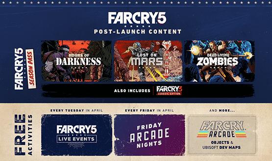 Far Cry 5: Nuove informazioni riguardanti i DLC Post Lancio, i personaggi, la modalità arcade e il Season Pass. - Far Cry 5 roadmap 555x328