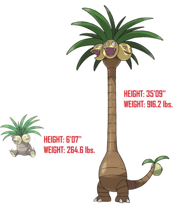 Explicit content : La settima generazione Pokémon - alolan exeggutor heigh weight comparison